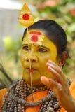La lengua perforó a la mujer de dios Foto de archivo libre de regalías