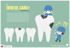 La lente d'ingrandimento della tenuta del dentista e cerca la carie dentale e spaventa perché è grande cavità dentaria Vettore Pr Fotografia Stock Libera da Diritti