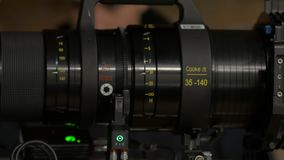 La lente de cámara del sistema de la película almacen de metraje de vídeo