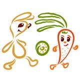 La lepre allegra e le carote in tensione giocano a calcio illustrazione di stock