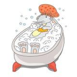 La lepre in cappello prende un bagno di bolla illustrazione di stock