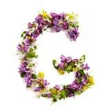"""La letra """"G"""" hizo de diversas pequeñas flores naturales fotos de archivo"""