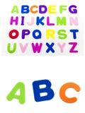 La letra del alfabeto colorea el fondo del blanco del ABC Foto de archivo libre de regalías