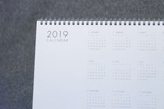 La letra 2019 en el calendario fotografía de archivo libre de regalías