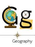 La letra G de la tarjeta flash está para la geografía ilustración del vector