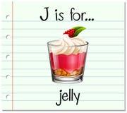 La letra J de Flashcard está para la jalea stock de ilustración