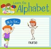La letra N de Flashcard está para la enfermera Imagen de archivo