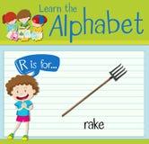 La letra R de Flashcard está para el rastrillo stock de ilustración