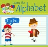 La letra T de Flashcard está para el lazo ilustración del vector