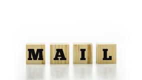 La letra teja el deletreo del correo de la palabra Fotos de archivo libres de regalías