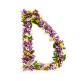 """La lettera """"DÂ"""" ha fatto di vari piccoli fiori naturali Immagine Stock Libera da Diritti"""