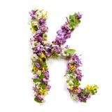 """La lettera """"KÂ"""" ha fatto di vari piccoli fiori naturali Immagini Stock"""