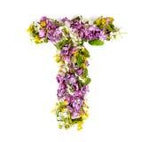 """La lettera """"TÂ"""" ha fatto di vari piccoli fiori naturali Fotografia Stock"""
