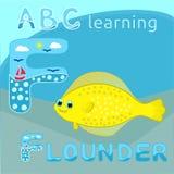 La lettera ABC dei bambini F di ABC che impara il mare felice dell'alfabeto animale divertente si dimena fumetto macchiato giallo Immagine Stock