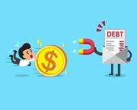 La lettera di debito di concetto di affari facendo uso di un magnete attira i soldi da un uomo d'affari Immagine Stock Libera da Diritti