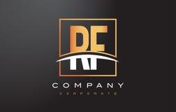 La lettera dorata Logo Design di rf la R F con il quadrato dell'oro e mormora Fotografia Stock