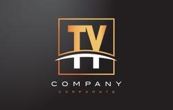 La lettera dorata Logo Design di TY T Y con il quadrato dell'oro e mormora Immagine Stock