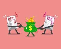 La lettera e la tassa di debito del personaggio dei cartoni animati segnano la trazione con lettere della borsa dei soldi Fotografia Stock Libera da Diritti