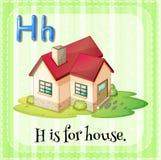 La lettera H di Flashcard è per la casa illustrazione vettoriale