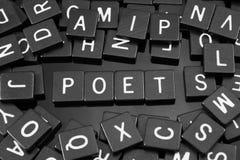 La lettera nera piastrella l'ortografia la parola & del x22; poet& x22; immagini stock