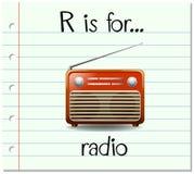La lettera R di Flashcard è per la radio illustrazione vettoriale