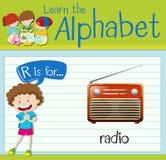 La lettera R di Flashcard è per la radio illustrazione di stock