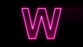 La lettera W rivela il moto d'ardore elettrico al neon pulisce per concentrare archivi video