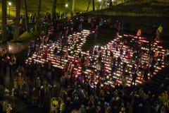 La Lettonia celebra il giorno di Lacplesa 11 novembre Fotografia Stock Libera da Diritti