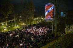 La Lettonia celebra il giorno di Lacplesa 11 novembre Immagini Stock