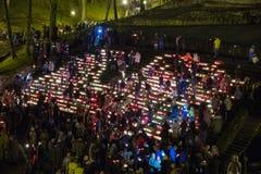 La Lettonia celebra il giorno di Lacplesa 11 novembre Immagini Stock Libere da Diritti