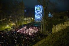 La Lettonia celebra il giorno di Lacplesa 11 novembre Fotografie Stock Libere da Diritti