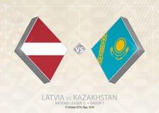 La Lettonia contro il Kazakistan, lega D, gruppo 1 Competi di calcio di Europa royalty illustrazione gratis