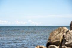 La Lettonie, l'endroit de Kolka de cap où reliez la mer baltique et le Th Photo stock