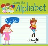 La lettre C de Flashcard est pour la cow-girl Illustration de Vecteur