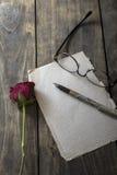 La lettre d'amour et a monté Photo stock