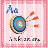La lettre A de Flashcard est pour le tir à l'arc Image libre de droits