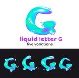 La lettre de G est un logo d'aqua Lettre volumétrique liquide avec des gouttelettes et des pulvérisateurs pour le style d'entrepr Photo stock