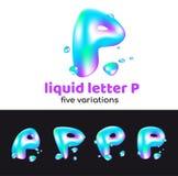 La lettre de P est un logo d'aqua Lettre volumétrique liquide avec des gouttelettes et des pulvérisateurs pour le style d'entrepr Illustration Libre de Droits