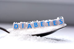 "La lettre en plastique perle orthographier le  d'""diabetes†de mot Photo stock"