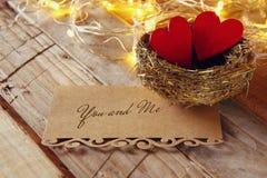 la lettre et les couples des coeurs dans l'oiseau nichent Photo stock