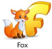 La lettre F est pour l'alphabet de bande dessinée de Fox Photos stock