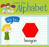 La lettre H de Flashcard est pour l'hexagone Image stock