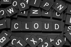 La lettre noire couvre de tuiles orthographier le mot et le x22 ; cloud& x22 ; Image stock