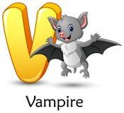 La lettre V est pour l'alphabet de bande dessinée de chauve-souris de vampire illustration libre de droits