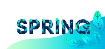 La lettre vert-bleu de ressort avec des feuilles dirigent le fond Illustration florale de conception graphique de printemps pour  illustration stock