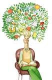 La lettura dell'uomo è un albero in pieno di creatività di fantasia Fotografia Stock