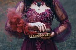 La leyenda de la caja de Pandora, muchacha con el pelo negro, vestido en un vestido magnífico lujoso púrpura, un ataúd antiguo se fotos de archivo libres de regalías