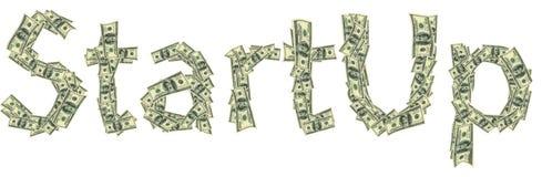 La leyenda empieza para arriba hecho de dólares como símbolo del comienzo acertado Imagen de archivo libre de regalías