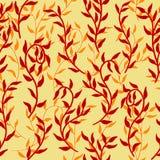 La liane écarte le vecteur sans couture de fond de modèle de plante grimpante rouge de feuilles illustration de vecteur