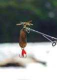 La libélula se encaramó en la extremidad de una caña de pescar Imágenes de archivo libres de regalías